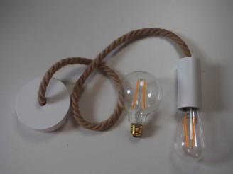 Creative - Suspension lumineuse câble Jute D 16mm - Ampoule LED offerte