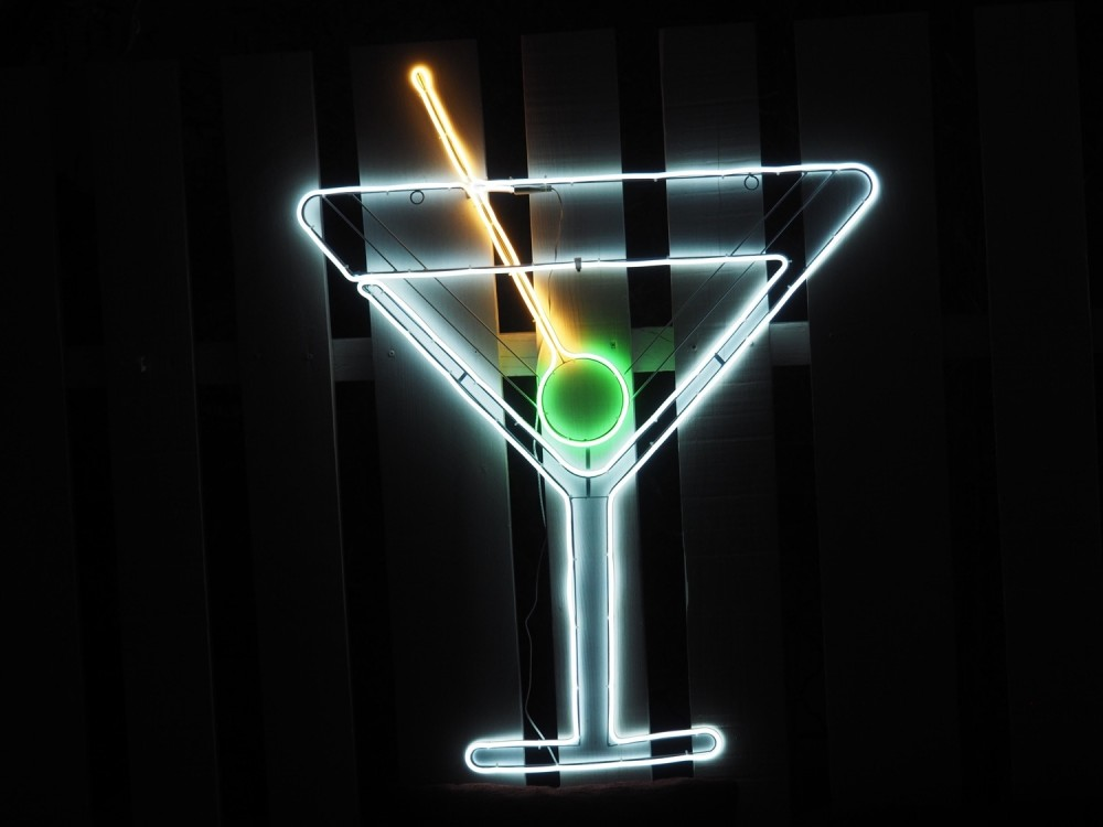 Cocktail Martini - Décor lumineux 116cm Néon Flex LED blanc & blanc chaud