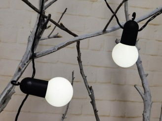 Guinguette lumineuse raccordable 18m, LED blanc pur, 30 boules blanches